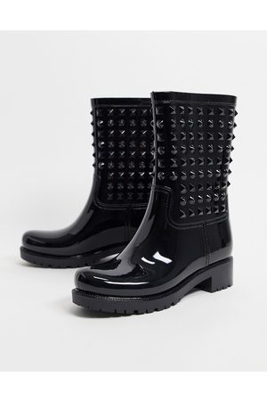 ASOS Grateful studded wellie boots in black