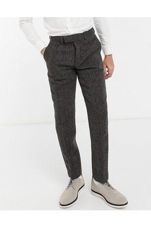 ASOS Harris tweed 100% wool slim suit trousers in brown herringbone