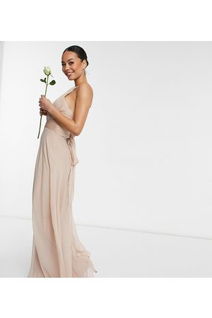ASOS ASOS DESIGN Tall Bridesmaid ruched pinny maxi dress with tie waist detail in Blush-Pink