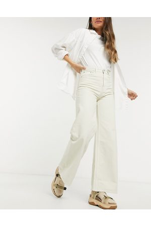 Weekday Ace organic cotton wide leg jeans in tinted ecru-Beige