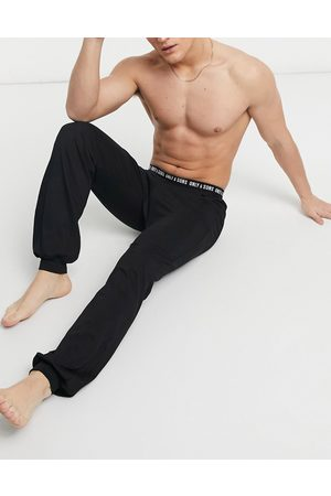 Only & Sons Muži Tepláky na spaní - Lounge pants cuffed with branded waistband in black