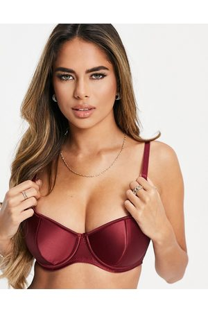 Pour Moi Fuller Bust Encore sweetheart demi padded bra in burgundy-Red