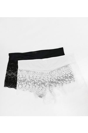 Simply Be 2 pack Lottie lace briefs in black and white-Multi