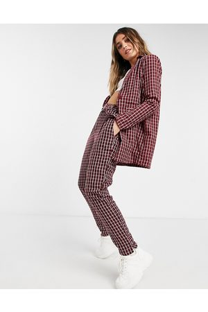 Heartbreak Belted tailored trousers in brown windowpane check