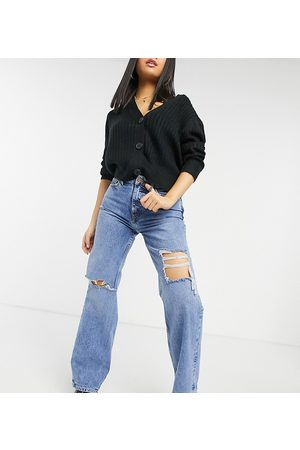 New Look Petite Ženy Boyfriend - Ripped baggy jeans in blue