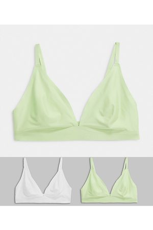 Jojoe 2 pack recycled bonded triangle bralettes in white and mint-Multi