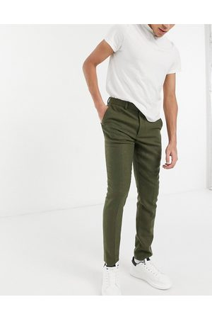 ASOS DESIGN Skinny wool mix suit trousers in khaki twill-Green