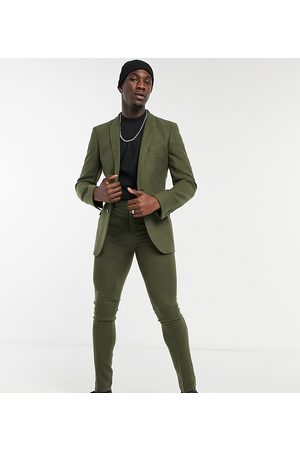 ASOS DESIGN Muži Úzké nohavice - Tall skinny wool mix suit trousers in khaki twill-Green