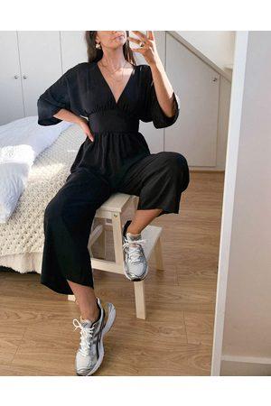 ASOS DESIGN Ženy Overaly dlouhé - Kimono sleeve culotte jumpsuit in black