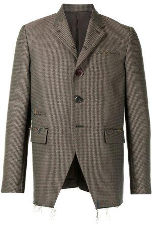 Undercover Checked fringe-detail blazer