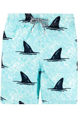 Mc2 Saint Barth Shark-print elasticated-waist swim shorts