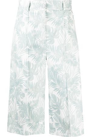 Hebe Studio The Printed Cotton Teal Bermuda