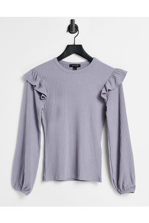 New Look Soft rib frill shoulder top in off grey lilac-Purple