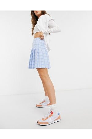 New Look Ženy Krátké - Mini pleated tennis skirt in pastel blue check