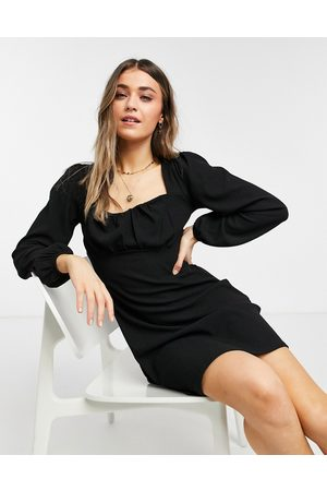 New Look Ruched bust mini dress in black