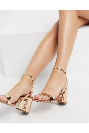 ASOS Hudson barely there block heeled sandals in rose gold