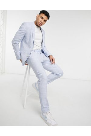 ASOS Wedding skinny suit trousers in pastel blue crosshatch