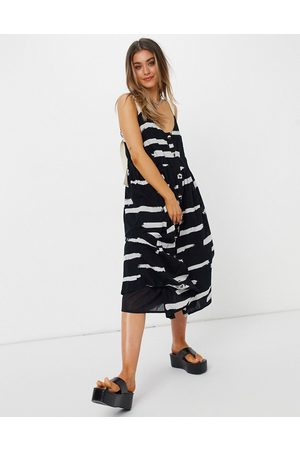 ASOS Button through midi sundress in abstract print with grosgrain straps-Multi