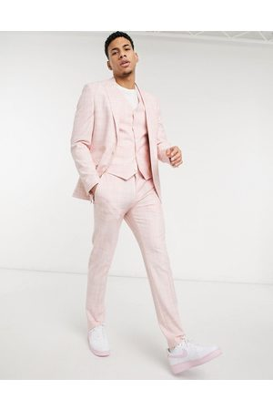 ASOS Muži Úzké nohavice - Wedding skinny suit trousers in pastel pink crosshatch