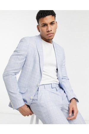 ASOS Wedding skinny suit jacket in pastel blue crosshatch