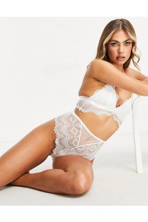 ASOS Ženy Spodní prádlo soupravy - Rosie lace high waisted knicker in white