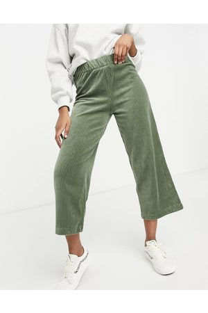 Monki Corrie wide leg pull on cord trousers in khaki-Green