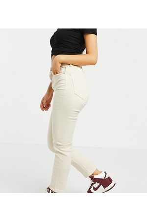 Stradivarius Ženy Slim - Organic cotton Petite slim mom jean with stretch in ecru-White