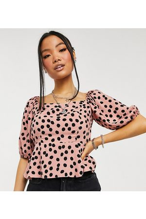 New Look Petite Ženy Topy - Square neck top in pink spot