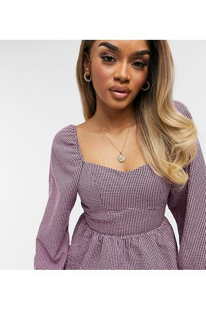 New Look Petite Ženy Halenky - Gingham square neck blouse in pink