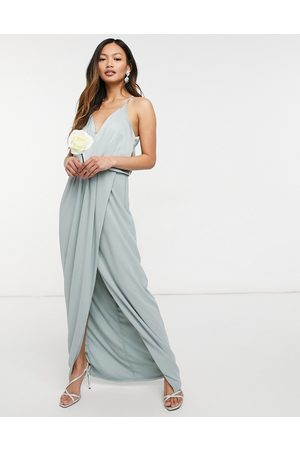 TFNC Bridesmaid satin halterneck top maxi dress in sage-Green