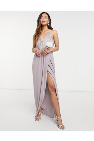 TFNC Ženy Ke krku - Bridesmaid satin halterneck top maxi dress in grey