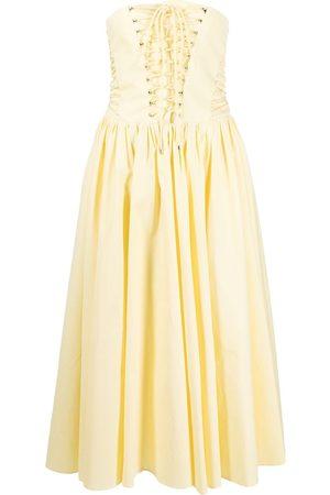 Philosophy Di Lorenzo Serafini Lace-up strapless midi dress