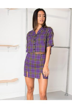 Daisy Street Crop blouse in vintage check co-ord-Purple