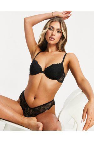 ASOS Rosie lace padded plunge underwire bra in black