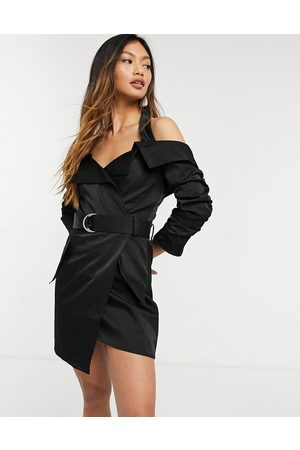 ASOS Halter tux dress with ruched sleeve and belt detail in black