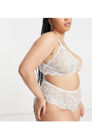 ASOS Ženy Spodní prádlo soupravy - ASOS DESIGN Curve Rosie lace high waisted knicker in white