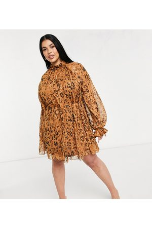 ASOS Ženy Na párty - ASOS DESIGN Curve high neck leopard printed mini dress in jacqaurd chiffon with tie detail-Multi