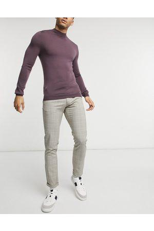 Jack & Jones Premium check trouser in ecru-Beige