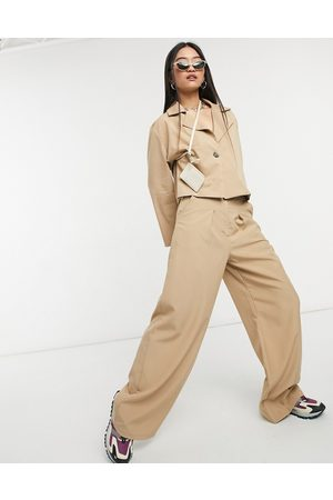 Native Youth High waist pleated very wide leg trousers co-ord-Beige