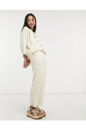 Native Youth Wide leg knitted trousers co-ord-Beige