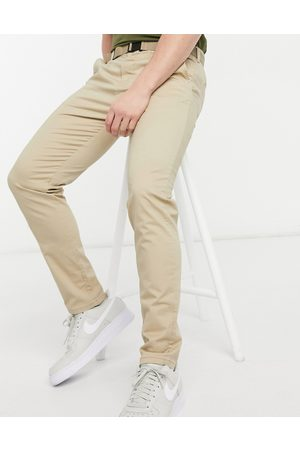 Pull&Bear Muži Úzké nohavice - Join Life skinny fit smart chinos in brown with belt