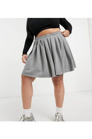 Collusion Plus pleated mini skirt in grey marl