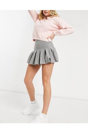Bershka Half pleat tennis skirt in grey