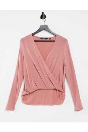 Vero Moda Wrap top in rose-Pink