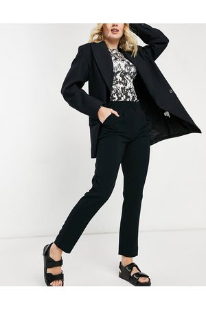 JDY High waisted straight leg trouser in black