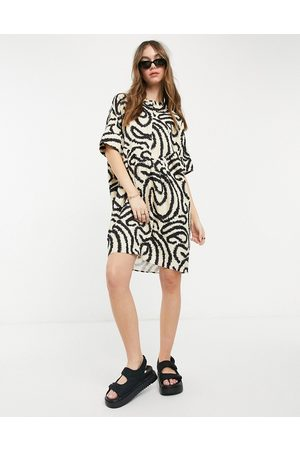Selected Marilyn graphic print tunic dress in cream-Grey
