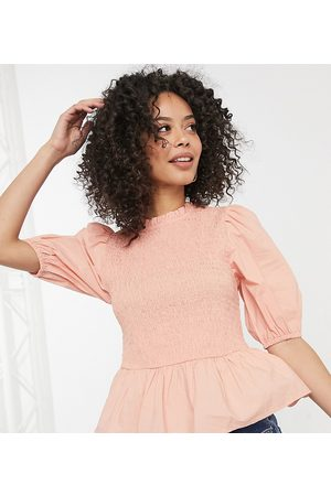 New Look Tall Shirred body puff sleeve top in pink