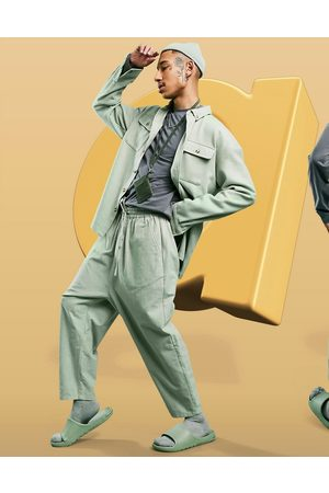 ASOS Drop crotch trousers in lightweight in green