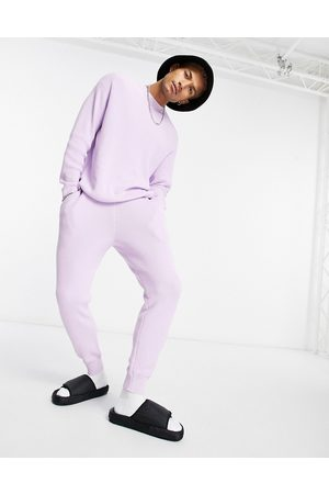 ASOS Ribbed co-ord cotton joggers in lilac-Purple