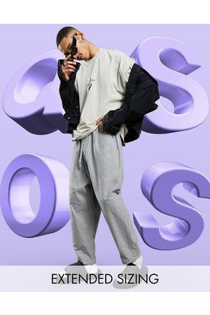 ASOS Muži Chino - Drop crotch trousers in lightweight in charcoal-Grey